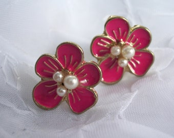 Pink Hibiscus Flower Earrings Faux Pearl Hawaii tropical floral beach party cruise yacht
