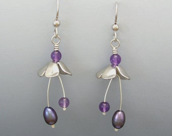 Spring Fling Sterling Silver Earrings with Amethyst and Pearl