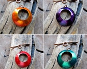 Fancy Toggle Clasp - Colored Necklace Clasp - Enameled Solid Copper Jewelry Clasp - Green, Red, Orange, Purple - Solid Metal Clasps