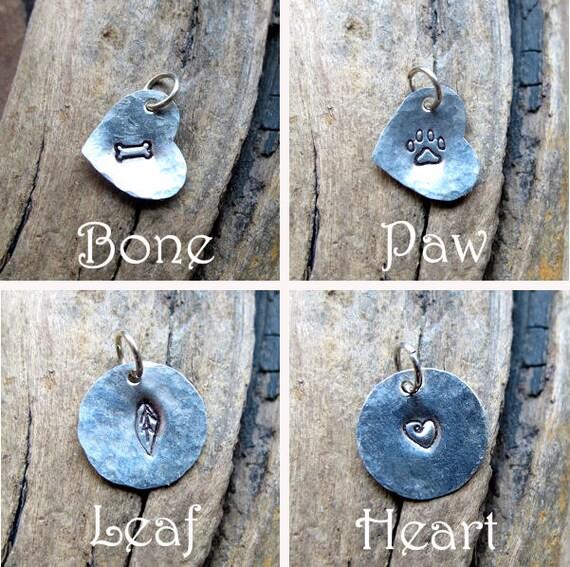 Hand Stamped Charm - Sterling Silver Add On - Heart, Disc Monogram Pendant - Bone, Paw, Leaf - Custom Tag