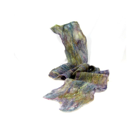 SALE - Cobweb Felt Scarf Wool Scarf in Subdued Green, Purple, and Blue with Embedded Ribbon
