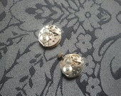 Two tiny vintage watch movements - Steampunk supplies watch mechanism, gears, old watch parts.