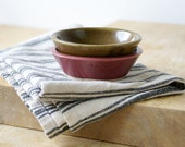Pottery soy sauce dishes - a hand thrown set of two in red and brown