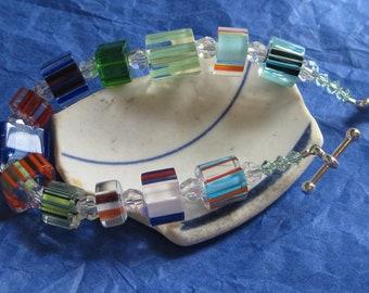 FURNACE GLASS and sterling BRACELET