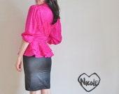 fuchsia peplum blouse . hot pink silk shirt .medium.large .sale s a l e