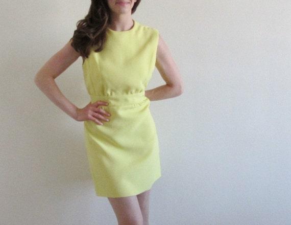 mod yellow mini dress. cocktail party dinner hostess . banana cream pie .medium.large .sale s a l e