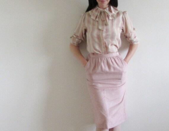 pastel rainbow blouse . 1970 ruffle clown collar . secretaries only .extra small xs