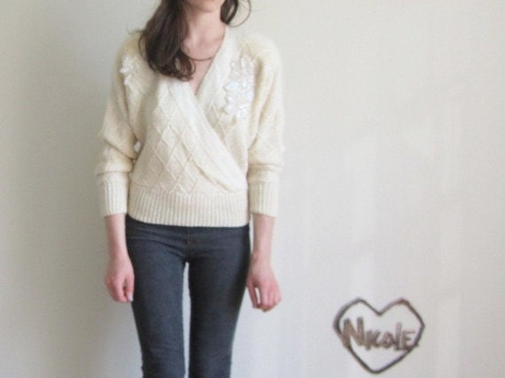 angora sequin sweater . 1980 ivory at its finest .small.medium .sale s a l e