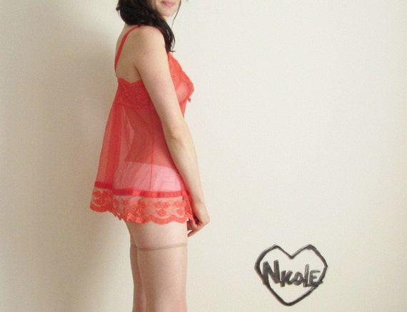 neon coral lingerie . 1960 mod negligee .medium