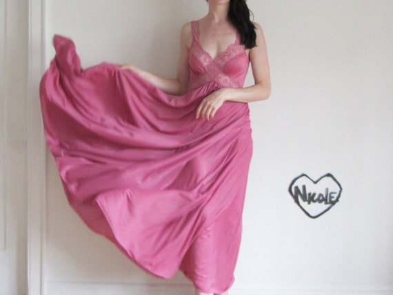 rose slip GOWN . mauve pink maxi night dress .small