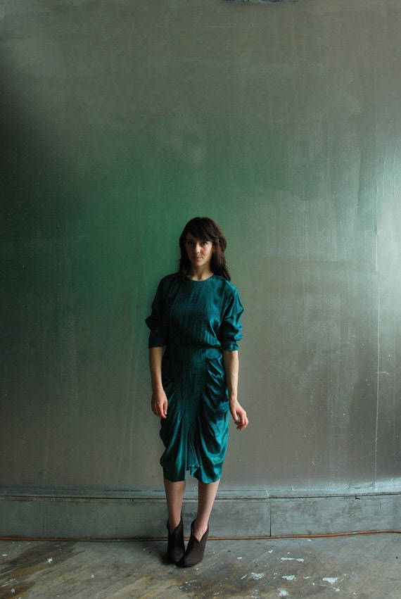emerald harem dress . teal green avant garde mermaid gown .small.medium .sale