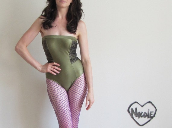 r e s e r v e d olive drab strapless maillot . metallic green swimsuit .disaster relief .extra small.small.xs .sale s a l e