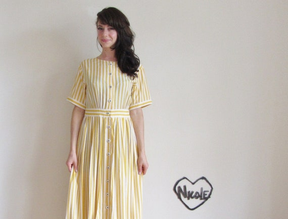 nautical carnival dress . yellow white circus stripes .disaster relief .medium.large