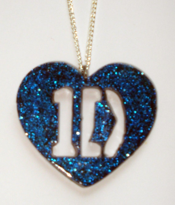 Blue glitter One Direction 1D heart necklace