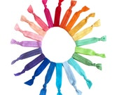 The Color Wheel of Hair Ties - 20 Elastic Solid Color Hair Ties that Double as Bracelets by Mane Message on Etsy
