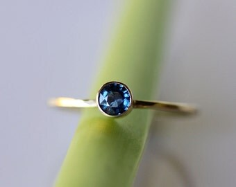 Blue Sapphire 14K Gold Ring, Gemstone Ring, Stacking Ring - Made To Order