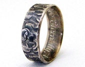 Engraved Wedding Band Mens Silver Wedding Ring Distressed Circles Customized Personalized Wedding Band
