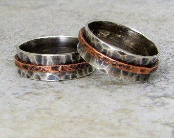 Silver Wedding Band Set Rustic Wedding Rings Silver Copper Spinner Rings Unique Wedding Bands Eco-friendly Recycled Rings for Him and Her