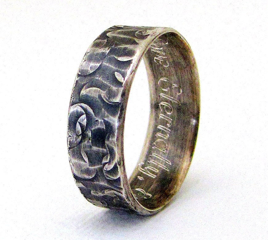 Engraved wedding band mens silver wedding ring distressed for Engraving on mens wedding rings