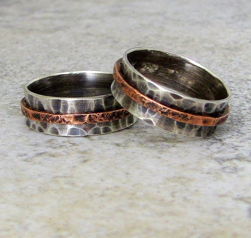 Silver Wedding Band Set Rustic Wedding Rings Silver Copper