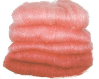 BFL/Silk Turkey Red Ombre Spinning Batts - 5 ounces
