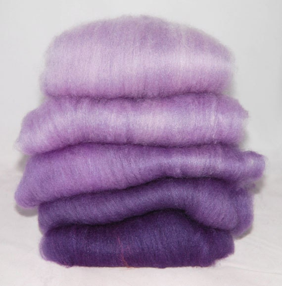 BFL/Silk Violet Ombre Spinning Batts - 5 ounces