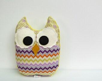 Stuffed Owl Toy Plush Mini Pillow Softie Purple Green Orange Lilac Minky Ready to Ship