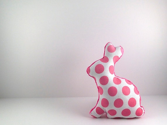 Polka Dot Plush Easter Bunny Stuffed Animal Nursery Decor Pink Fuchsia White