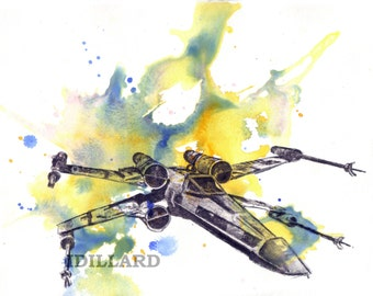 Xwing Star Wars Art Print From Original Watercolor Painting - 8 x 10 in. Star Wars Art Print Movie Poster