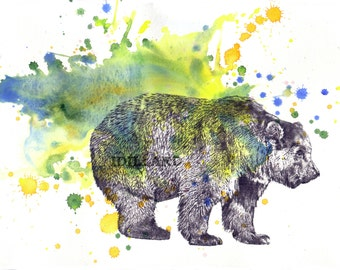 Grizzly Bear Art Animal Watercolor Painting Print - 13 x 19 in print Great Children Kids Wall Nursery Art Decor and For Every Bear Lover