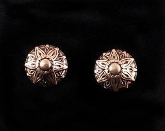 Upholstery Tack Post Earrings-Starflower-Antique Brass