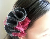 Headband With Gray And Burgundy Felt Rosettes