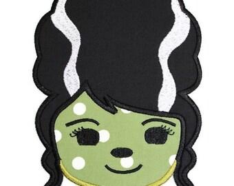 Bride of Frankenstein Machine Embroidery Applique Design