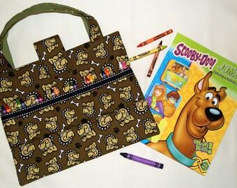 Crayon Organizer Tote ~ Travel Art Bag ~ Art Supplies Storage Bag ~ Bull Dogs ~ Road Trip Activity Bag