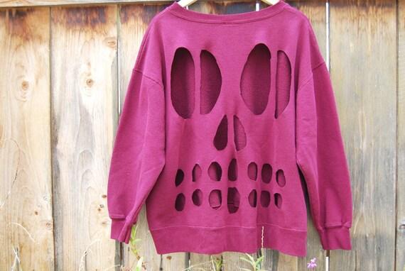 Maroon Skull Cutout Sweater