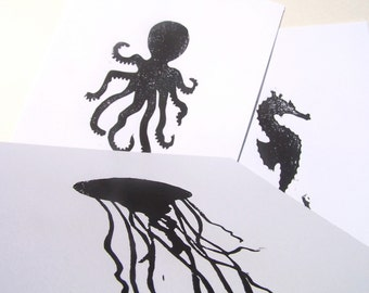 3 LINOCUT PRINTS - Set of 3 letterpress marine animal prints - Seahorse, Jellyfish, Octopus 8x10