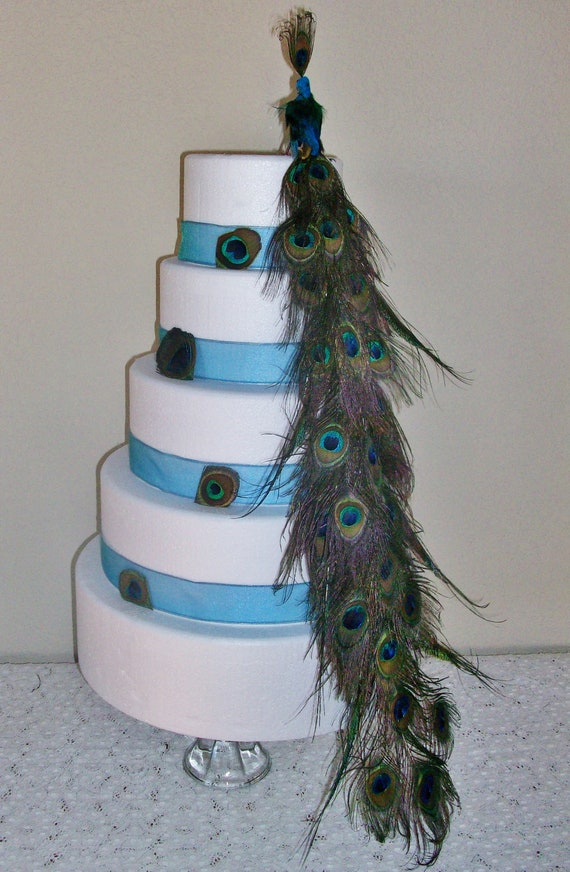 Natural Peacock Bird Feather Wedding Cake Topper Centerpiece