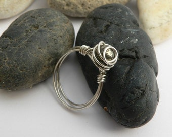 Grey Rose, Golden Khaky Pyrite-Sterling Silver Handmade Wirewrapped Ring, graduation gift, gift for graduation