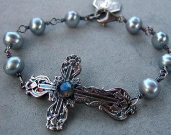 Labradorite And Grey Pearl Lily Cross Bracelet