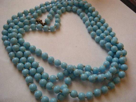 Vintage Necklace Baby Blue Glass Beads