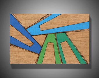 """The Moving Earth: Original Abstract Modern Art on Red Oak Panel - Pyrography - Prismacolor Pencil - Affordable Art - Blue, Green - 5.5"""" x 8"""""""