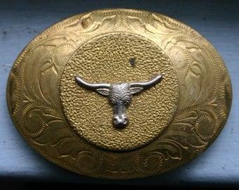 Vintage 1970s Brass Steer Head Belt Buckle