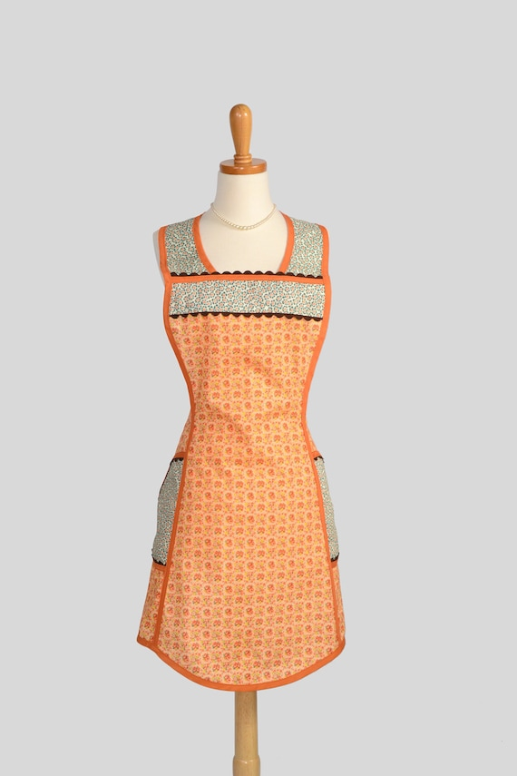 Retro Full Kitchen Apron . Handmade Cute Womens Apron Retro Vintage in Oranges and Teals Old Fashioned Charm with Pockets