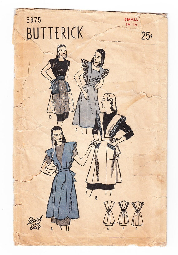 Vintage 1940s Butterick 3975 Sewing Pattern Misses' Set of Aprons - Four Styles Size 14-16 Bust 32-34