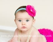 Baby Bloomer Ruffle Bum and Headband Photo Prop Set- Hot pink and Turqouise great color combo.
