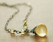 Golden Citrine Necklace Sterling Silver, Oxidized Yellow Gemstone, Wire Wrap, Autumn Fashion, aubepine - aubepine