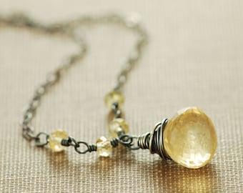 Golden Citrine Necklace Sterling Silver, November Birthstone Jewelry, Yellow Gemstone Pendant Necklace, aubepine