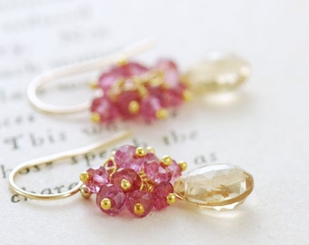 Gold Gemstone Earrings with Pink Clusters, Delicate Golden Yellow Dangle Earrings, aubepine