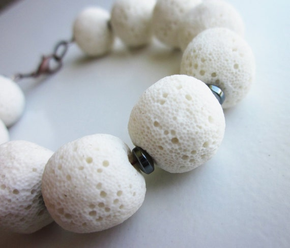 Lava Stone Bracelet with Hematite. Textured White Lava Rock. OOAK / One of a Kind. Gift for Her