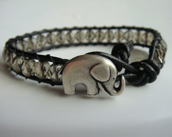 Elephant Bracelet, Gray Beaded Leather Bracelet
